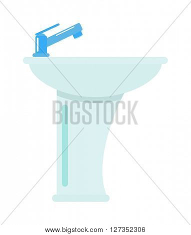 Ceramic bathroom washbasin isolated on white background vector icon.