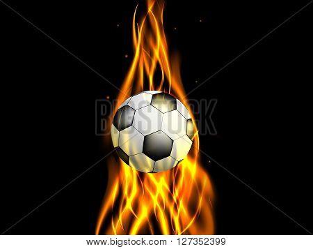 Soccer ball in ascending flame on black background, vector illustration