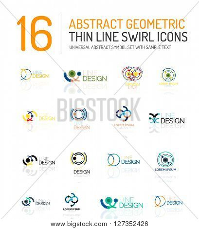 Collection of linear abstract logos - swirls and circles abstract universal shapes - clean modern geometric symbols, branding logotype company emblem ideas and business identity