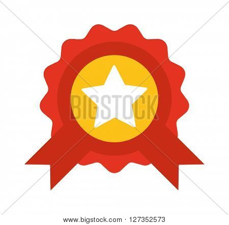 Red label with ribbons and star vector illustration.