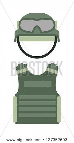Military clothing uniform isolated on a white background army green helmet and body armor vector.