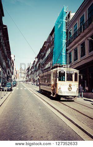 Porto Portugal-21 May 2015:historical street tram in Porto Portugal