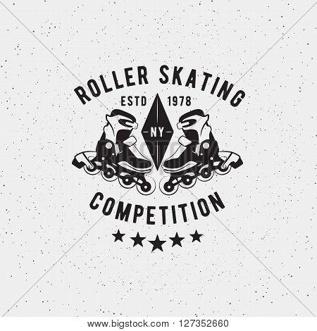 Retro Vintage roller skating competition. Vector design element