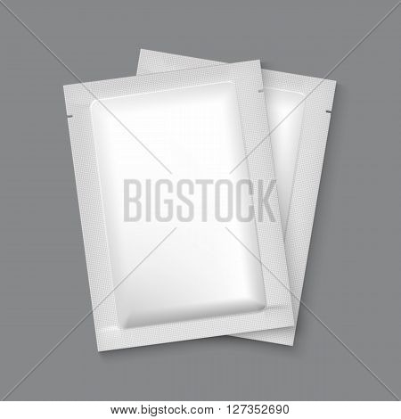 Mockup Blank Foil Packaging Sachet for Tea, Coffee, Sugar, Condoms, Drugs as well as Salt, Spices, Sauce, Shampoo, Gel etc. Plastic Pack Template for your design and branding.