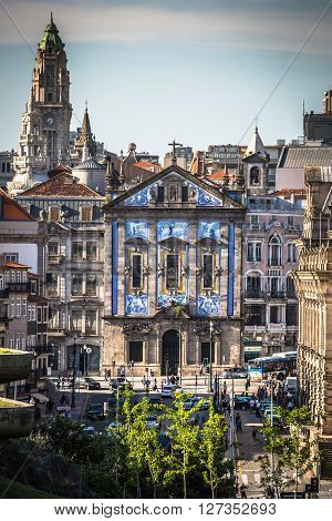 Porto Portugal 21 May 2015:Santo Antonio dos Congregados Church in Almeida Garrett Square. Baroque architecture decorated with the typical Portuguese blue tiles.