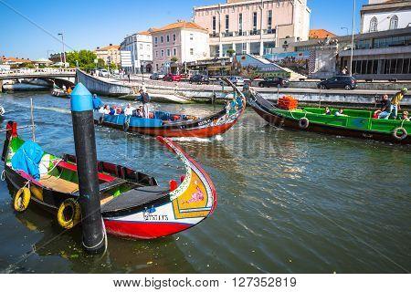 Aveiro Portugal - 22 May 2015: Moliceiro boats sail along the central canal