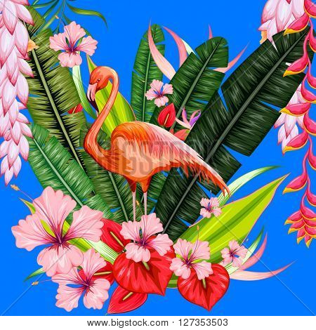 Exotic tropical background with flamingo and flower