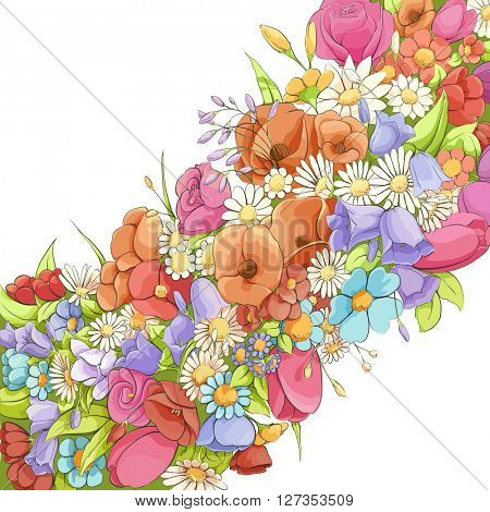 Bright flowers on white background