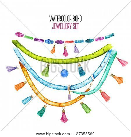 Beautiful watercolor set of jewelry items. Hand drawn accessories.