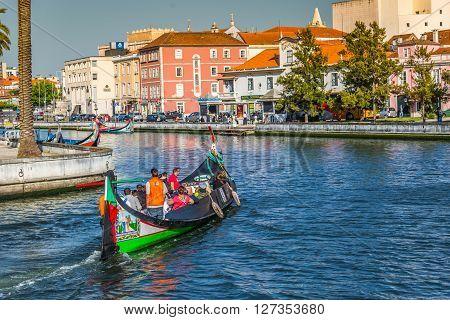 Aveiro Portugal - 22 May 2015: Traditional boats in Aveiro