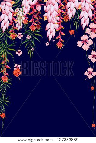 Exotic tropical background with colorful flowers