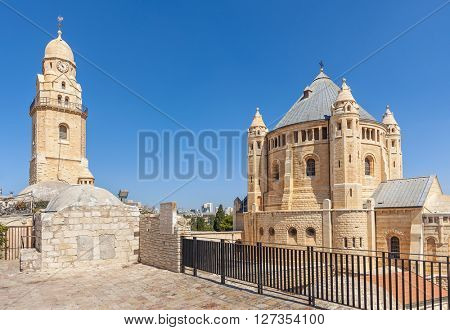 Exterior view of Dormition Abbey in Old City of Jerusalem, Israel.