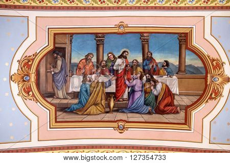 STITAR, CROATIA - AUGUST 27: Last Supper, fresco in the church of Saint Matthew in Stitar, Croatia on August 27, 2015