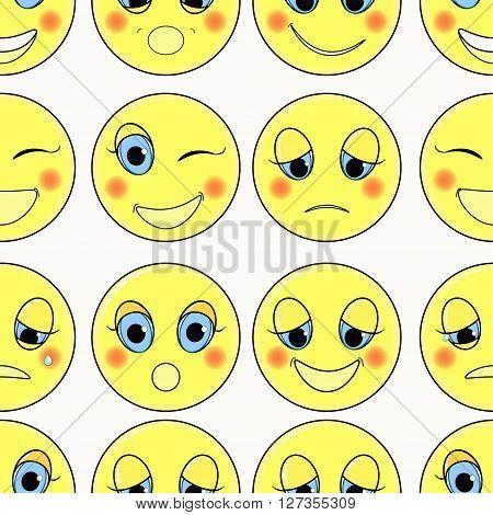 set of emoticons sad kind happy seamless vector illustration