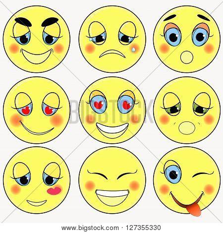 set of emoticons sad kind love happy vector illustration