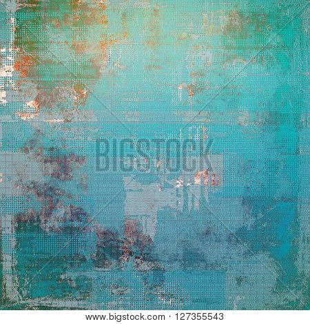Old-style dirty background with textured vintage elements and different color patterns: green; blue; red (orange); gray; cyan