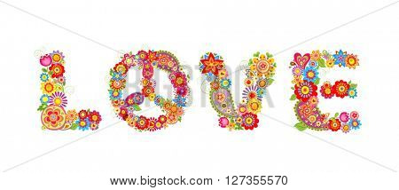 Flowers hippie print. Love letter
