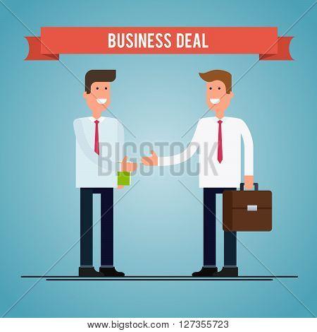 Business deal. People shaking hands. Vector flat illustration