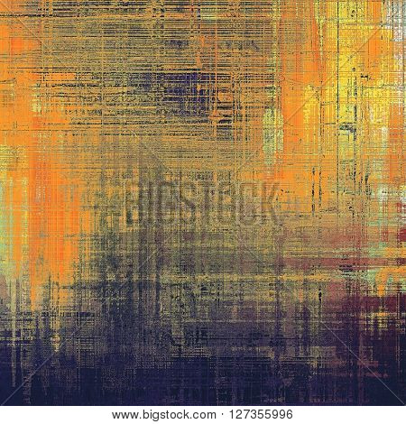 Retro style graphic composition on textured grunge background. With different color patterns: yellow (beige); brown; red (orange); gray; purple (violet); black