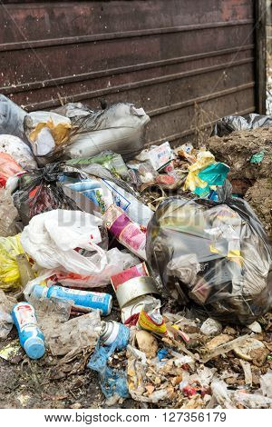 REIFKA - RUSSIA 31ST MARCH 2016 - Piles of household domestic rubbish in heaps await collection for disposal as part of the spring clean up in Refika Russia on the 31st of March 2016