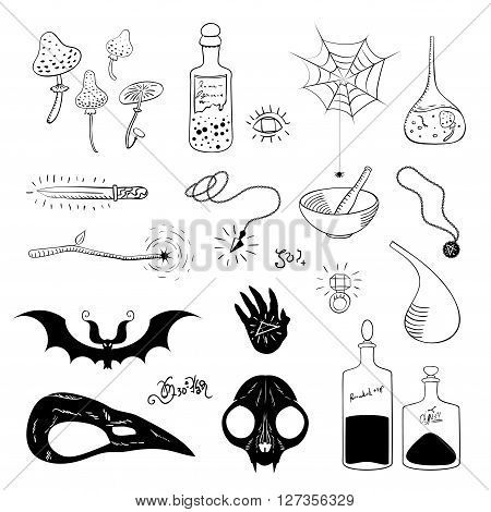 Set magical accessories. Silhouettes of magical objects isolated on white background. Skulls mushrooms cobweb magic wand and magic bottles. Vector illustration.