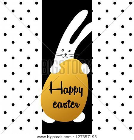 Easter rabbit with egg on white background in black point. Easter greeting card template. Easter Bunny hugging golden egg.