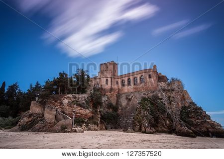 View of historical Castle of Sao Joao do Arade in Ferragudo, Portimao.  Portugal