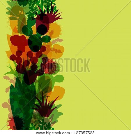 Seamless border of silhouettes of cacti and succulents. Seamless background of modern silhouettes houseplants. Vertical border of cactus isolated on green background. Vector illustration.