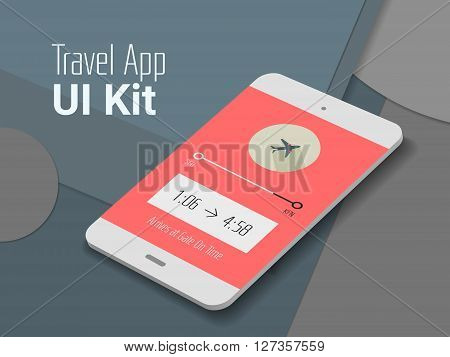 3d isometric material design travel app mobile UI mock up, on trendy material background