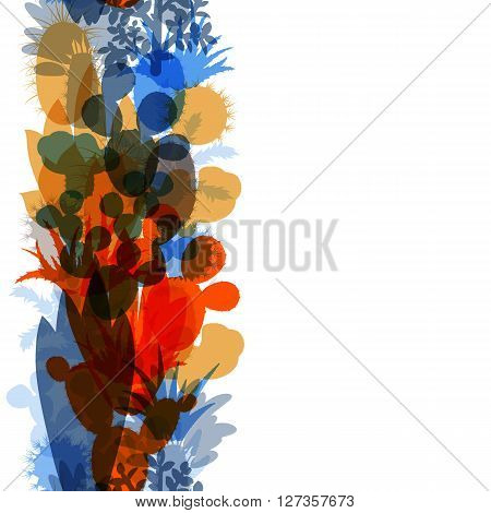 Seamless border of silhouettes of cacti and succulents. Seamless background of modern silhouettes houseplants. Vertical border of cactus isolated on white background. Vector illustration.