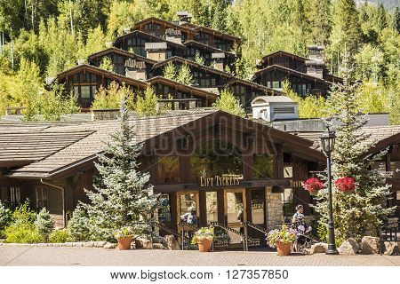 Vail, USA - September 10, 2015: Swiss Style Decorated Building for Ski Lift in Vail, Colorado