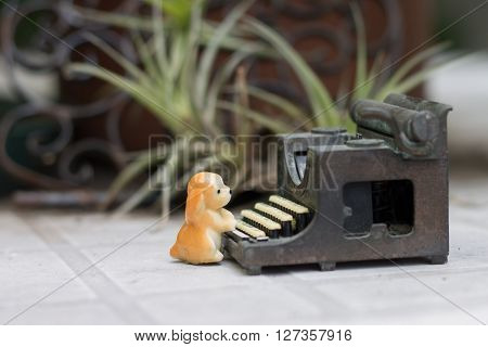 minimal composition with toys in the garden