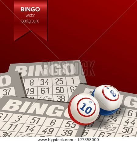 Bingo or Lottery  Background. Balls and Cards. Vector Illustration.