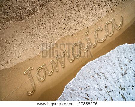 Jamaica written on the beach