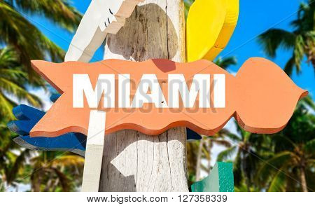 Miami signpost with palm trees
