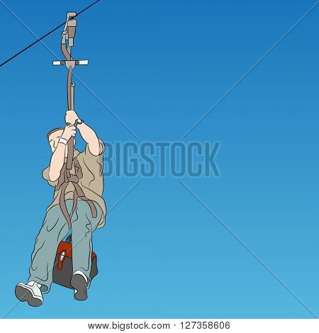 An image of a male zip line rider parent.