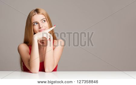 Gesturing Blond Woman.