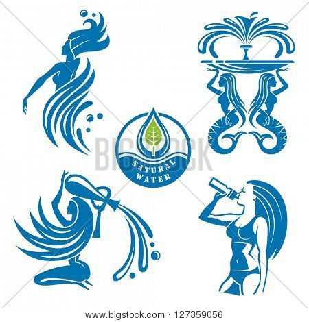 set of abstract water icons as girls