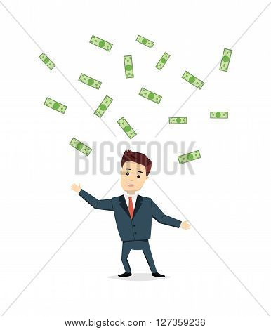Satisfied businessman cash cost under the rain. Success, business concept in flat style. Vector cartoon man winner chasing money.