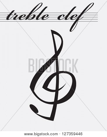 monochrome icon of treble clef