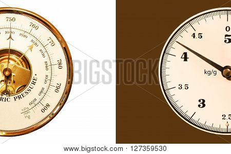 Barometer with scales on a white - brown background
