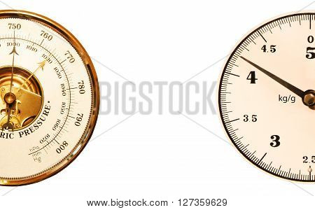 Barometer with scales on a white background