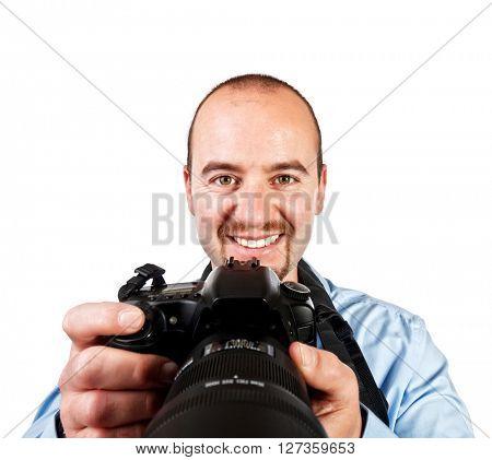 portrait of photographer isolated on white background