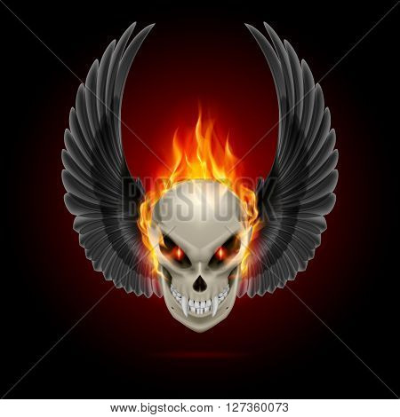 Mutant skull with long fangs orange flame and raised wings