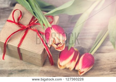 Romantic flowers and gift with light effect. ** Note: Shallow depth of field
