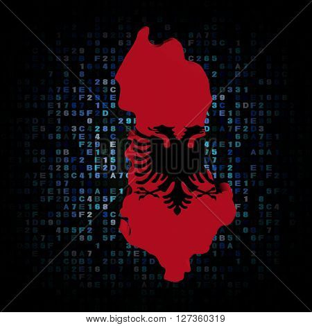 Albania map flag on hex code 3d illustration