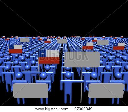 Crowd of people with signs and Chilean flags 3d illustration