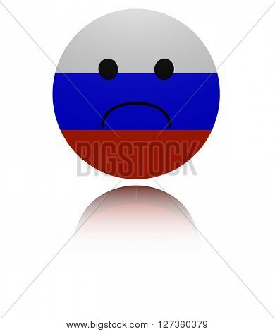 Russia sad icon with reflection illustration