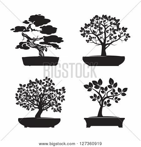 Set of Black Bonsai Trees. Vector Graphic Element.