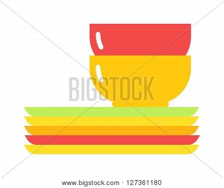 Yellow soup cup. Yellow single cup breakfast food and ceramic red and flat soup cup. Yellow cup food beverage kitchen accessory flat vector. Yellow soup cup plate